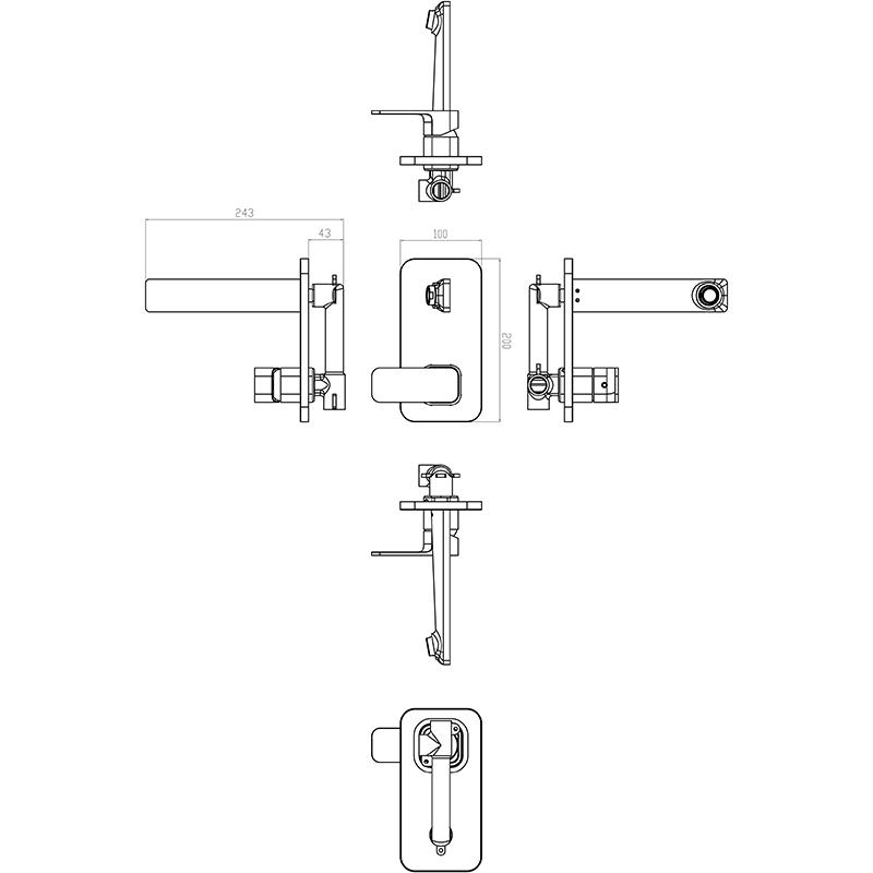 IKON HYB66-601MB SETO Wall Basin Mixer with Spout- Matte Black (schematic)