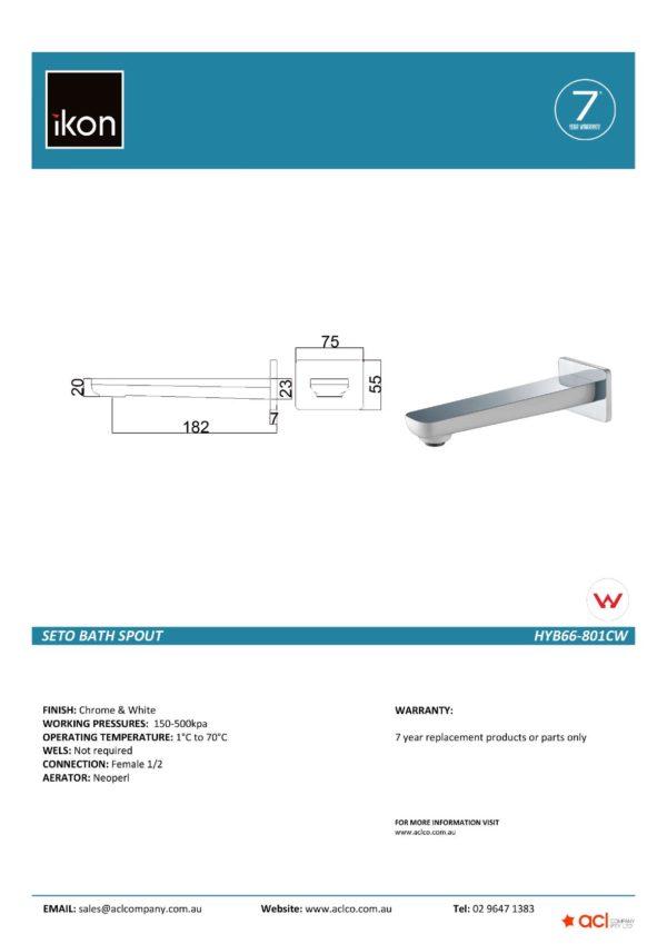 IKON HYB66-801CW SETO Bath Spout- White & Chrome (details)