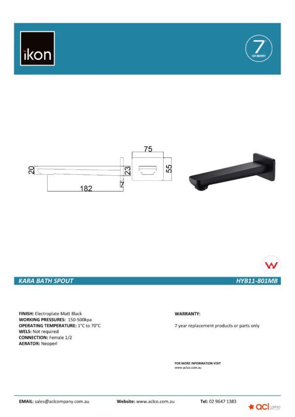 IKON HYB66-801MB SETO Bath Spout – Matte Black (details)