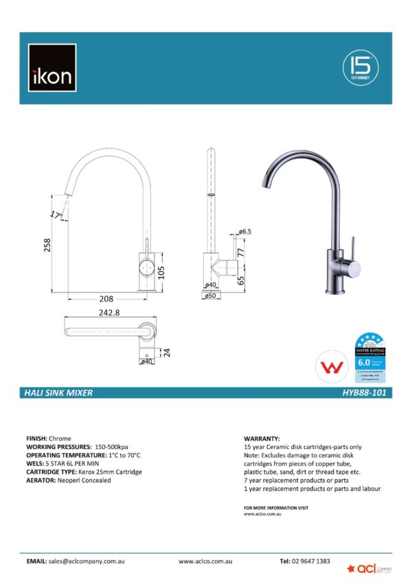 IKON HYB88-101 HALI Sink Mixer – Chrome (details)
