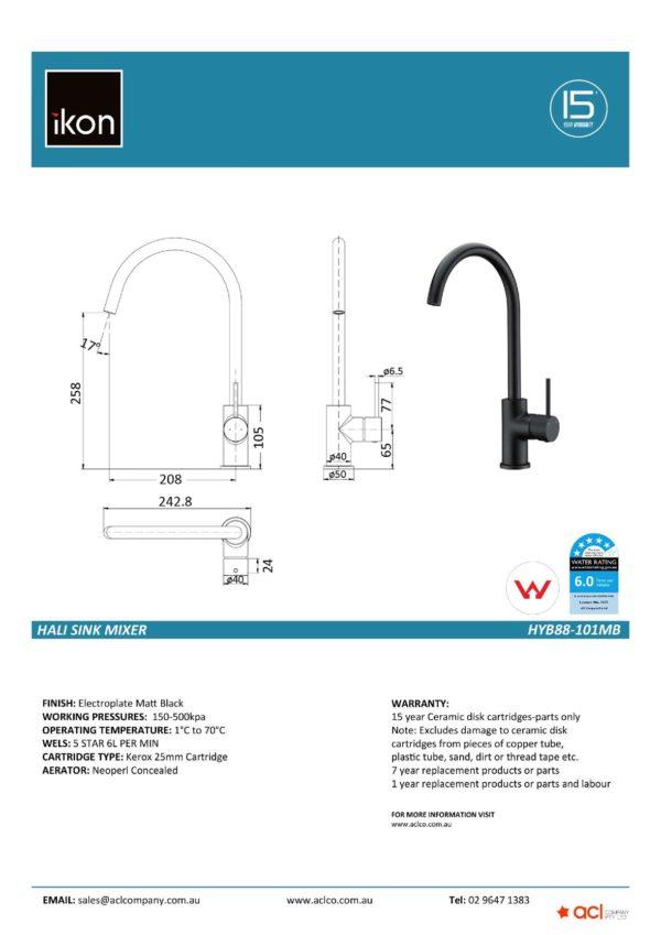 IKON HYB88-101MB HALI Sink Mixer – Matte Black (details)