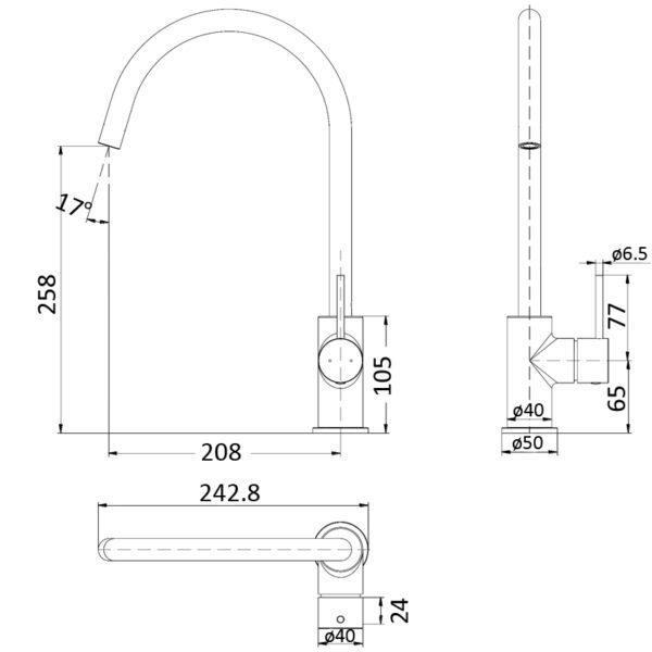 IKON HYB88-101MB HALI Sink Mixer – Matte Black (schematic)