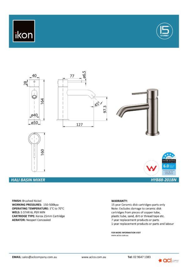 IKON HYB88-201BN HALI Sink Mixer – Brushed Nickel (details)