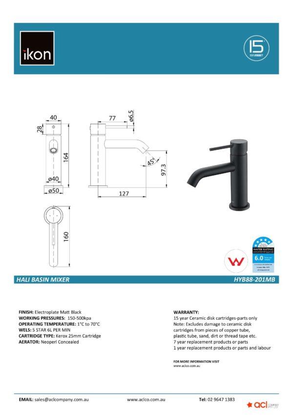 IKON HYB88-201MB HALI Basin Mixer – Matte Black (details)