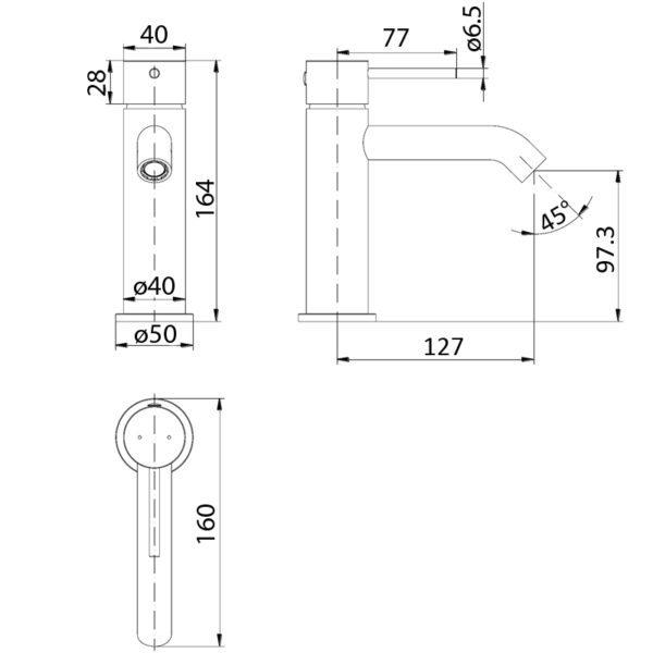 IKON HYB88-201MB HALI Basin Mixer – Matte Black (schematic)