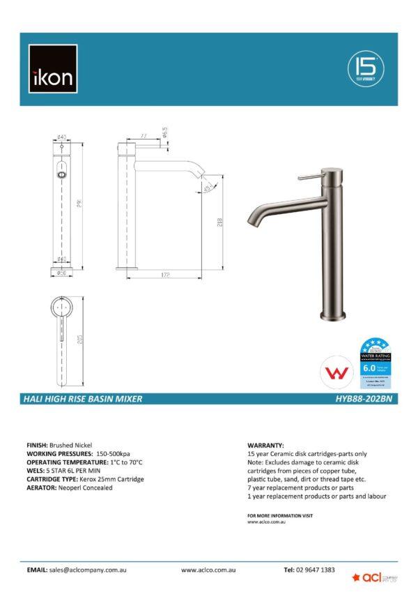IKON HYB88-202BN HALI High Rise Basin Mixer – Brushed Nickel (details)