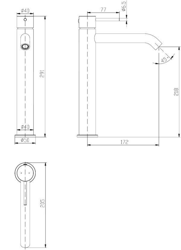 IKON HYB88-202BN HALI High Rise Basin Mixer – Brushed Nickel (schematic)
