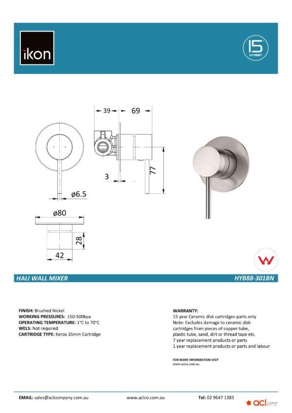 IKON HYB88-301BN HALI Wall Mixer – Brushed Nickel (details)