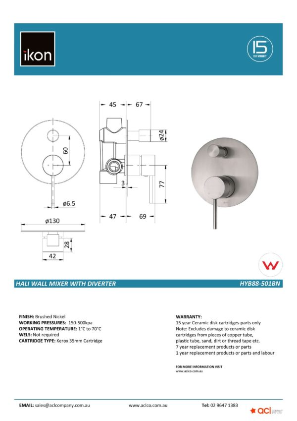 IKON HYB88-501BN HALI Wall Mixer with Diverter- Brushed Nickel (details)