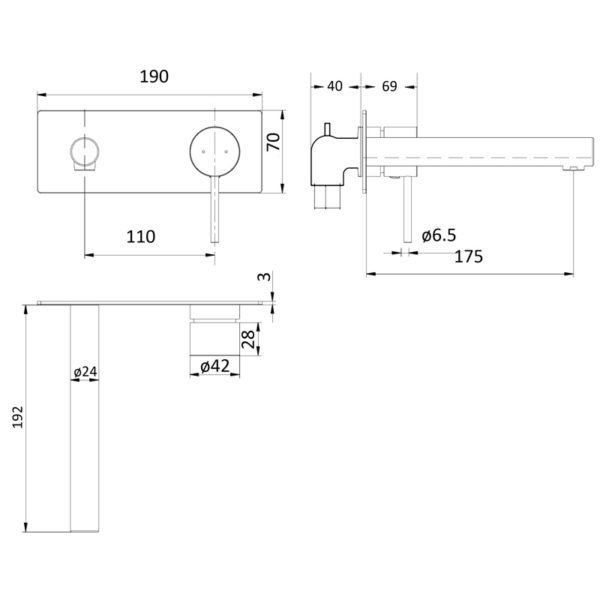IKON HYB88-601BN HALI Wall Basin Mixer with Spout – Brushed Nickel (schematic)