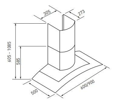 Euromaid AAG6SE1 60cm Glass Canopy Rangehood (schematic)