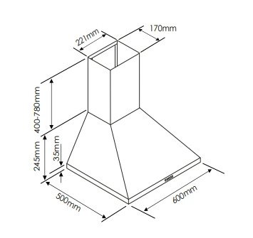 Euromaid AAS6SE3 60cm Canopy Rangehood (schematic)