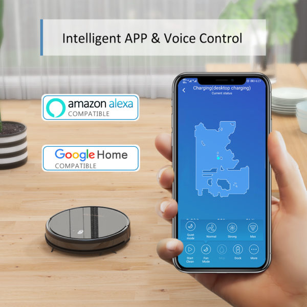 Tesvor M1 Robot Vacuum Cleaner Hoover & 4000Pa Adjustable Suction Power – App & Voice Control