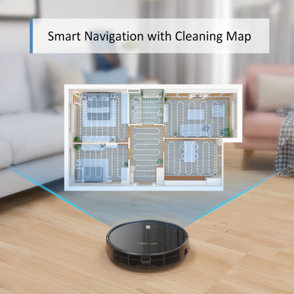 Tesvor M1 Robot Vacuum Cleaner Hoover & 4000Pa Adjustable Suction Power – Smart Navigation