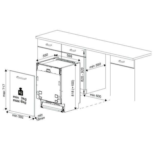 Euromaid FIDWB16 60cm Fully Integrated Dishwasher (Schema)