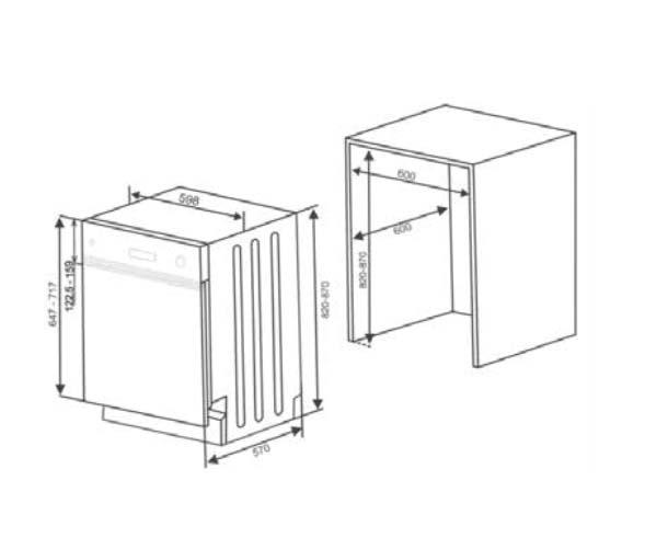Baumatic SIDW15 60cm Semi-Integrated Dishwasher (schematic)