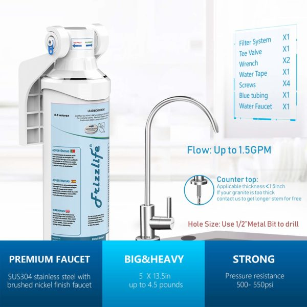 Frizzlife MP99 Under Sink Water Filter With Drinking Tap