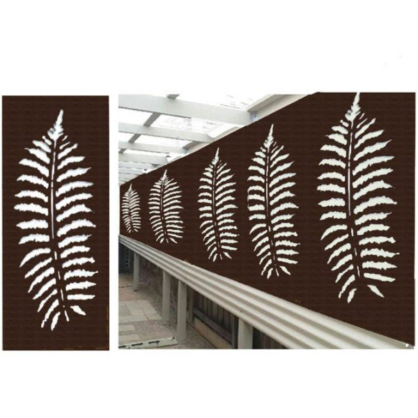 Fern Leaf – Australian Compressed Hardwood woodsman sealed jarrah Privacy Garden Screens Australian Made – 600 x 1200 mm – 9 mm